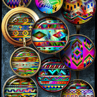 "Native American Rainbow Motifs - Digital Collage Sheets - 1.5"", 1.25"", 30mm, 1"", 25mm Jewelry supplies for Pendants, Bottle Caps - CG-991"