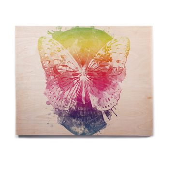 "Frederic Levy-Hadida ""Butterfly Skull"" Rainbow Birchwood Wall Art"