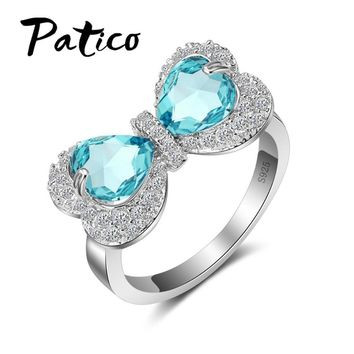 PATICO Romantic Double Love Heart Cubic Zirconia Bowknot Design 925 sterling-silver-jewelry for Women Wedding Rings