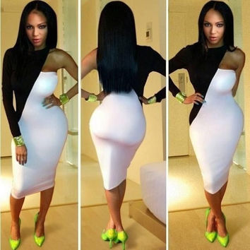 Women's Sexy One Shoulder Black White Cocktail Club wear Slim Tunic Body con Dress S-L = 1956561348