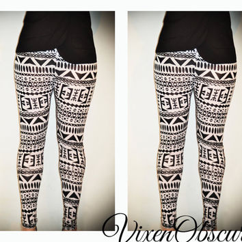 SALE Womens Aztec print black and white Leggings by VixenObscure