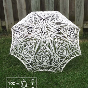 "48"" IVORY Lace Crochet UMBRELLA Parasol Sunbrella, Summer Wedding, Party Favor- Made to Order"