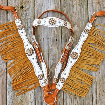 White Gator/Tan Leather Fringe Browband Tack Set w/Smoke Topaz-Champagne Crystal Rhinestone Conchos