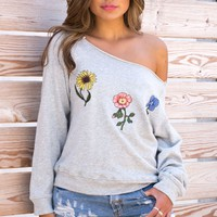Embroidered Floral Off The Shoulder Sweatshirt - Grey