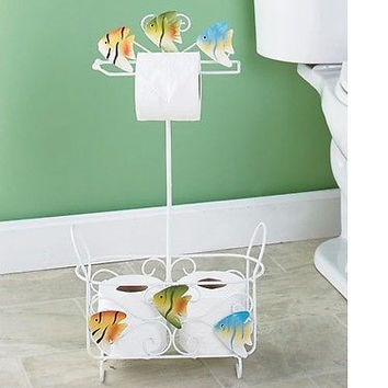 Themed Bathroom Stand Fish Durable White Hand Towels Magazine New Free Ship