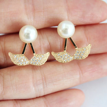 Gold wings ear jackets, wing earrings, gold wing earrings, pearl wing earrings, diamante gold wing earrings, christmas earrings gift