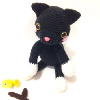 Amigurumi Cat Amigurumi Black Cat Crochet Toy Cat Stuffed Animal Kids Toy Nursery Decor Kawaii Toy Plush Baby Shower Birthday Gift Ideas
