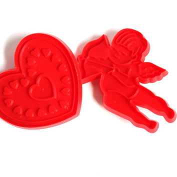 VALENTINES COOKIE CUTTERS, Vintage Heart Cookie Cutter, Cupid cookie cutter,vintage bakeware,kitchenware,holiday cookie cutter,cookie supply