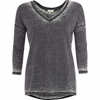 Dark grey burnout V neck top - long sleeve t-shirts - t shirts / tanks / sweats - women