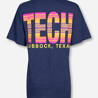 Lubbock, TX TECH in Fiji Sunset on Heather Navy T-Shirt