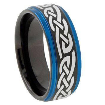 8mm Celtic Knot Infinity Love Blue Step Edges Tungsten Carbide Mens Wedding Ring