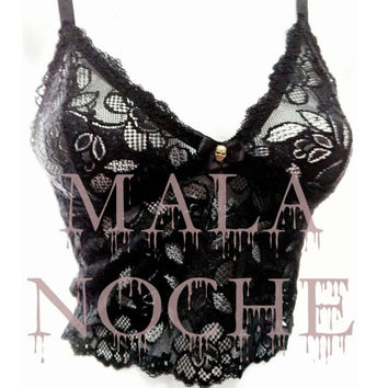 Top lace, lace bralette, goth bralette, dark, skull top, gothic lingerie, lace lingerie