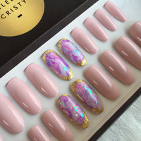 Amethyst Crystal Quartz Press On Nails Available in Any Shape | Pinky Nude Polish | Nail Art Design | False Fake Glue On Nails