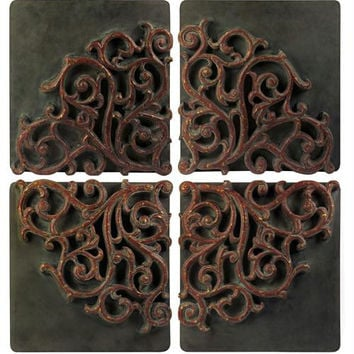 4 Wall Art Tiles - Raised Medallion Design