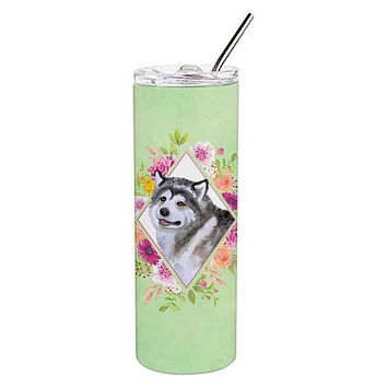 Alaskan Malamute Green Flowers Double Walled Stainless Steel 20 oz Skinny Tumbler CK4272TBL20