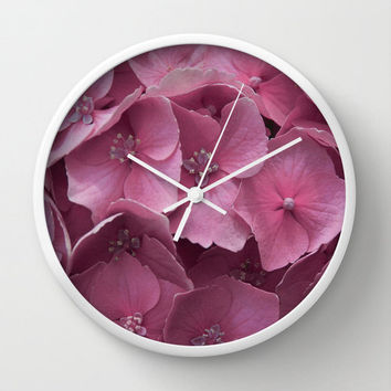 Modern Wall Clock with Original Pink Hydrangeas Photography Print