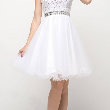 White Cap Sleeved Homecoming Short Dress with Appliqued Bodice