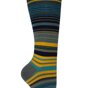 Variegated Stripe Knee High Socks in Gray, Green, Yellow, and Blue