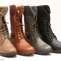 Women's Foldable Combat Round Toe Low Heel Military Lace Up Mid Calf Boot Shoes