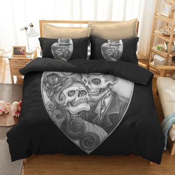 Fanaijia Couple sugar Skull Bedding Sets queen size lover skull Duvet Cover set with pillow case Bed bedline AU US size bedline