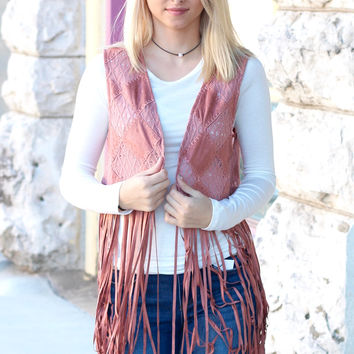Care Free Suede Fringe Vest {Dusty Pink}