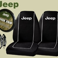 Jeep Logo PAIR Front Bucket Seat Covers & Jeep Comfort Grip Steering Wheel Cover & Jeep Lanyard Keychain Holder
