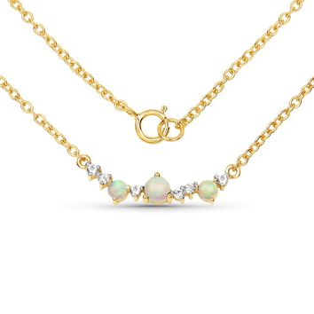 LoveHuang 0.31 Carats Genuine Ethiopian Opal and White Topaz Necklace Solid .925 Sterling Silver With 18KT Yellow Gold Plating, 18Inch Chain