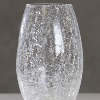 "Vivid Crackle Glass Vase Too with 20L 9.25""H"