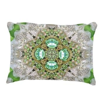 girly Silver pearl green faux Diamond bling Accent Pillow