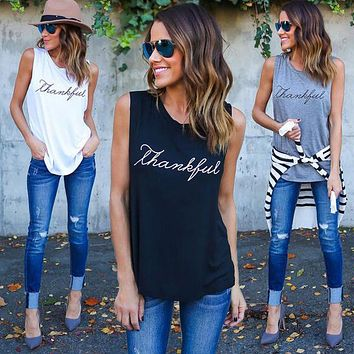 CDJLFH Brand 2017 Women Sexy Long Tank Tops Casual thankfull Letter Print Simple Style Black White Grey Sleeveless Tops Shirt