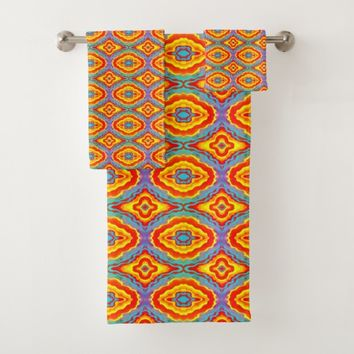 Colorful geometric pattern bath towel set