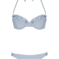 Ruche Stripe Bikini Top and Bottoms - Topshop