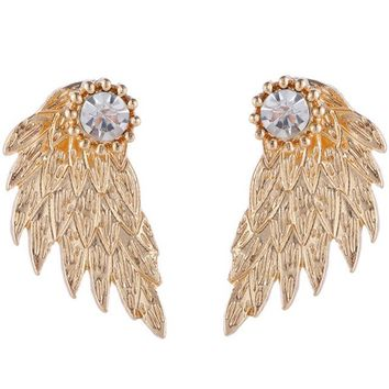 ES101 Crystal 3D Angel Wings Stud Earrings Inlaid Alloy Ear Jewelry Party Earring Gothic Feather Brincos