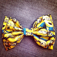 Despicable Me Minion faces  print handmade fabric bow tie or hair bow