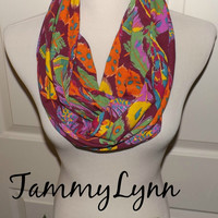 NEW!! Wine Feather Scarf Fall Multi-Color Mustard, Purple, Orange, Blue, Green, Feathers on Wine Jersey Knit Infinity Scarf