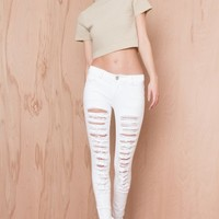 Let's Get Ripped Skinny Jeans White | LASULA