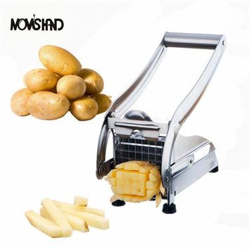 Stainless Steel French Fry Cutter Device Potato Vegetable Slicer Chopper with 2 Blades Kitchen Gadgets