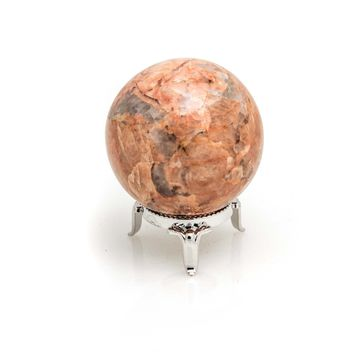 Orange Calcite with Epidote Sphere