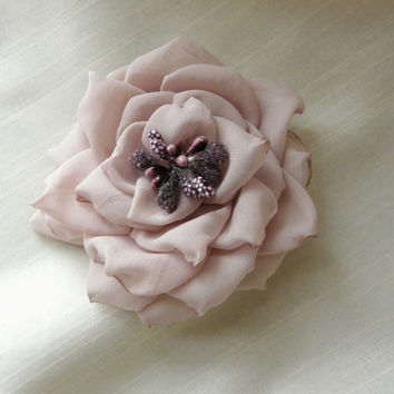 Silk Fabric Flower, Nude Hair Accessory, Bridal Rose Accessory, Engagement Flower Clip, Prom Hair Accessory