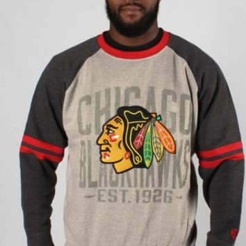 Men's Chicago Blackhawks Cruise Crewneck Fleece Sweatshirt w/ Raglan Sleeves-OldTime Hockey