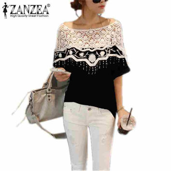 2017 Top Fashion Hollow Out Shirt For Women Crochet Cape Lace Collar Batwing Sleeve Blouse Tops Blusas Femininas Plus Size S-5XL