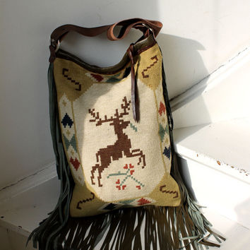 Christmas Winter / Autumn deer fringed leather shopper bag vintage kilim navajo gypsy boho bohemian tote bag fringes blanket kilim bag