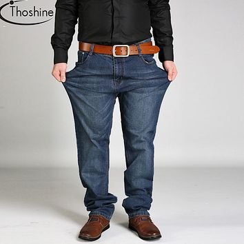 Thoshine Brand 2017 Spring Autumn Winter Men Stretch Jeans Male Loose Denim Pants Adult Casual Straight Trousers Plus Size