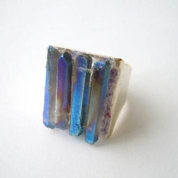 Raw Crystal Quartz Ring - Rock Crystal -Bluish Purple Mineral Jewelry - Adjustable