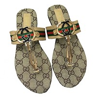 GUCCI Summer Fashionable Women Leisure Sandal Slipper Shoes Beach Flip-Flops Khaki