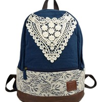 Retro Canvas Backpack with Floral Lace Insert