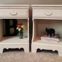 2 Vintage Nightstand Set Shabby Chic Chalk Painted in Annie Sloan Chalk Paint White  Bedroom Furniture/ Wood Nightstands