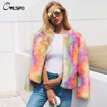 CWLSP Rainbow Cardigans Faux Fur Coats Winter Parchwork Gradient Short Outerwears Casual Jackets casacas para mujer QL4116