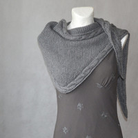 Grey Shawl Minimalist Wrap Triangular Hand Knitted Shawl with Cables Gift under 60 Alpaca Ready To Ship