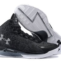 Men's Under Armour Stephen Curry One Black Grey Camo Basketball Shoes